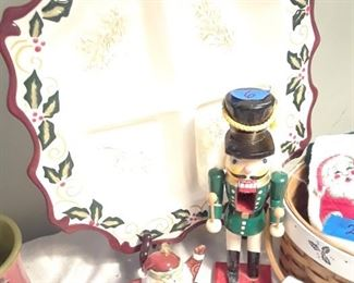 Christmas serving plate, nutcrackers, baskets