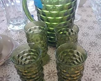 Green glasses and pitcher