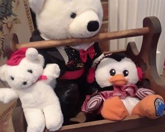 Teddy bears and penguins, and lots of other adorable stuffed animals