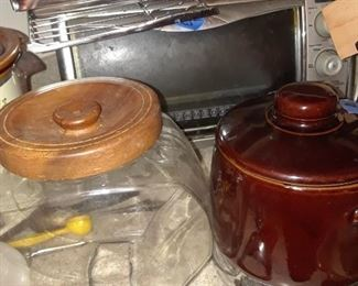 Cookie jar and Sears electric bean pot
