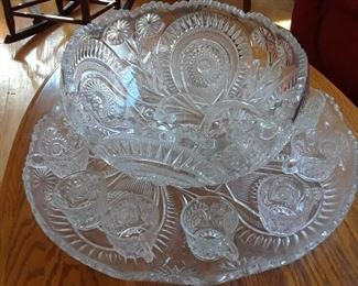 Pressed glass punch bowl set complete with bowl, underplate, cups