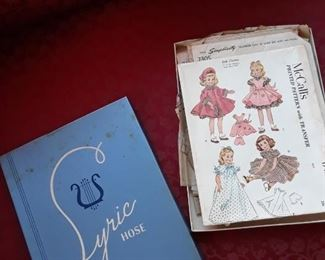 Doll clothes patterns; Rich's hosiery box