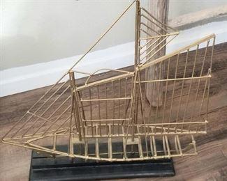 Mid-century brass boat