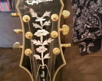 Close up of Epihone guitar