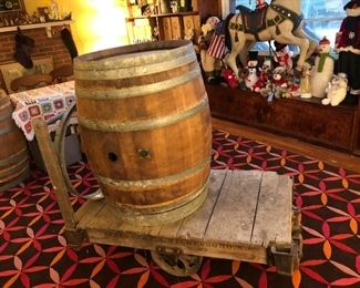 Wine Barrel and Antique Industrial Cart