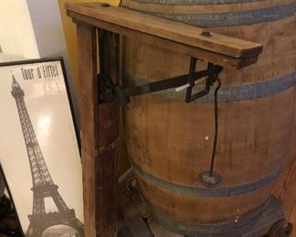 Wine Barrel and Antique Industrial scale