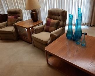 Recliners, Lamp, Lamp Table, Art glass, Coffee Table