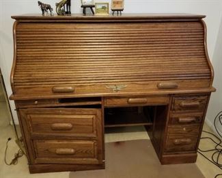 All wood roll top desk