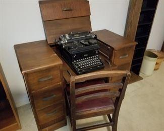 Royal typewriter and typing desk