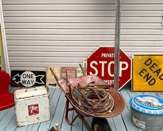Authentic metal signs, vintage 7up Ice box, copper pipe,  tools, metal beer bucket