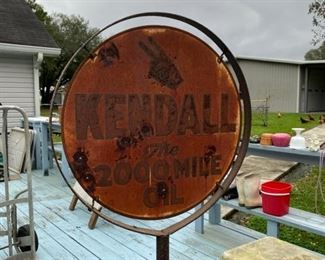 Authentic double sided Kendall motor oil metal lollipop sign.