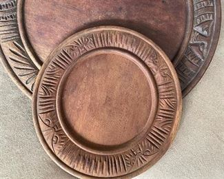 Two Antique Bread Boards: $120 large platter, $85 smaller plate