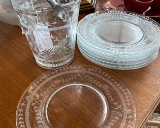 Elegant Etched Glass! Set of 9 plates, $75; Ice Bucket, $75