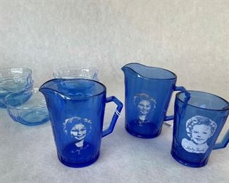 Shirley Temple Pitcher + Mug, $50, Pitcher, $30; set of blue bowls $10