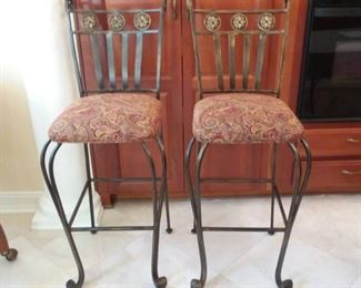 Set of 2 Iron Counter Bar Stools with Upholstered Seats