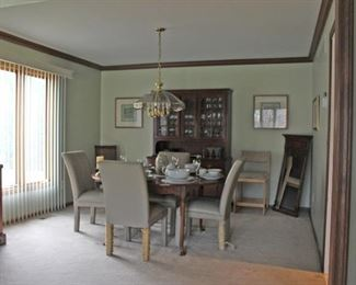 Dining Room Table & Chairs, Dishes, Stemware, Mirror, Art
