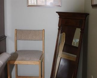 Chair, Art and Wall Mirror