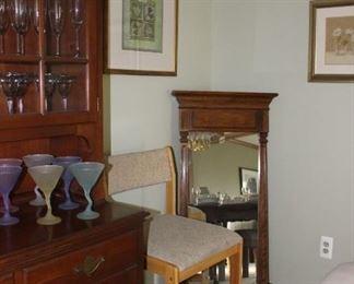 Chair, Stemware, Mirror, Art