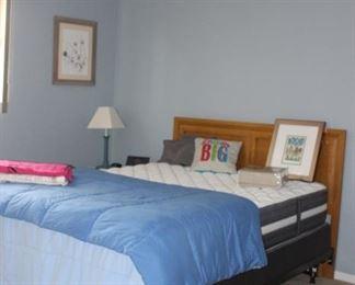 Queen Bed, Headboard,  Linens, Art