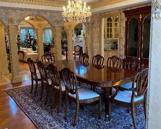 John Widdicomb by Stickley Georgian carved walnut dining table with 12 John Widdicomb regency dining chairs original cost $37000 asking price 13500 or offer call 248 672 6663 for more info to make an offer or set up an Apoitment to view