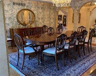 John Widdicomb dining room table with  12 chairs,  neo classical serpentine  Inlaid Sideboard and 9.2 x 12.5 handmade pure silk dining room rug call 248 672 6663