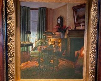 Den Painting w/ clock gold gilt frame 325