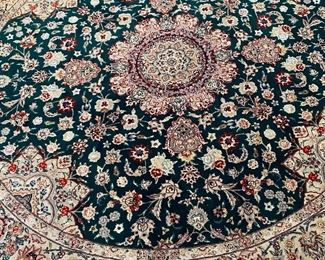 Kitchen area 74 inch round handmade pure silk area rug original cost 5200 Asking price 2000 or offer