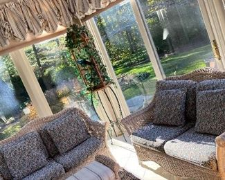 Sunroom five piece wicker seating group  Original cost 5600 Asking price 2000 or offer