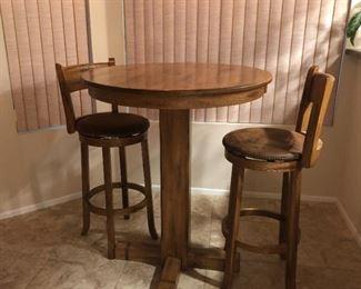 Oak Round Bar-height Table w/ 2 Swivel Stools