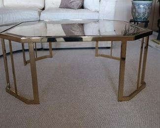 another view of brass and glass coffee table