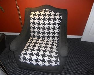 chair by Michael Thomas Furniture, done in houndstooth- check chenille fabric