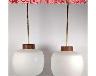 Lot 1003 Pr Large White Glass and Walnut Pendant lamps.
