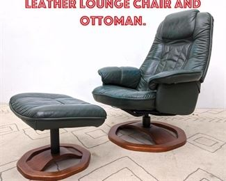 Lot 1010 MOBELTEAM Green Leather Lounge Chair and Ottoman.