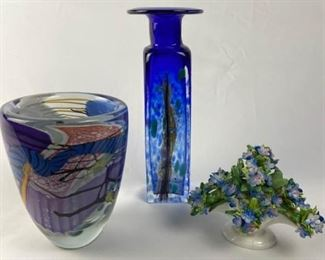Polish Hand Blown Vase, Fine China Flowers, and Art Glass Vas