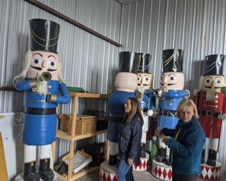 Available for pre-sale! 11 ft animatronic nutcrackers are $350 each or make offer for 2 or more.   Call or email us to discuss pricing or place a bid.