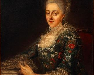 Continental 18th C. Oil on Canvas Portrait of a Lady