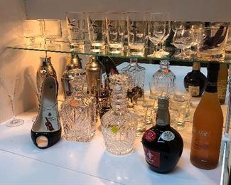 Assorted Bar Glasses, shakers, crystal bottle opener and brass opener