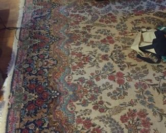 """room size1930s semi-antique Kerman carpet-wool on cotton-9'4"""" by 12' 4"""" approximately"""