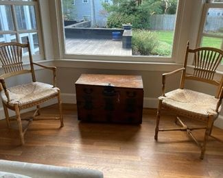Trunk and pair of vintage chairs