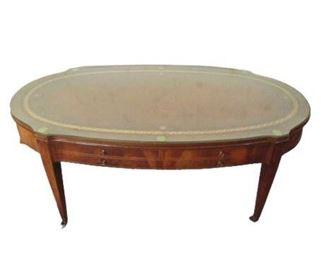 Glass Top Hardwood Coffee Table