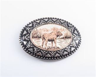 Silver Plate Moose Belt Buckle