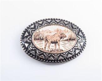 Silver Plate Moose Belt Buckle