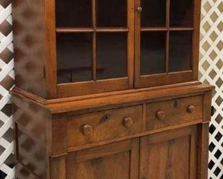 Walnut 2 Pc. Step Back Cupboard With 12 Pane Glass Doors