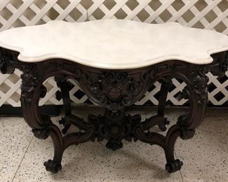 Ornate Turtle Marble Top Parlor Table