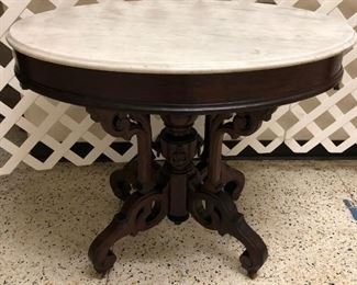 Ornate Oval Marble Top Parlor Table