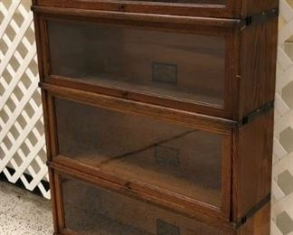 Oak 4 Stack Sectional Barrister Bookcase, Globe-Werneike