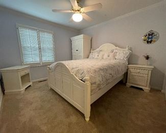1. Bedroom set by Hooker with wardrobe, Queen size Bed, and tqo nightstands, one of which has a cabinet underneath.  Bedding included.  Excellent shape and beautiful new condition.  White with rubs designed in.   $ 500 all