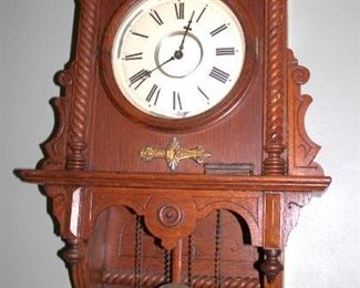 Victorian Walnut Wall Clock, Antique