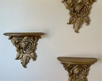 CLEARANCE  !  $3.00 NOW, WAS $10.00.............Set of 3 Floral Small Shelves (P192)