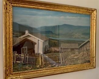 """CLEARANCE  !  $40.00 NOW, WAS $125.00................ Large Picture: Bue Farm in Norway colorized picture 29 1/2"""" x 42"""" (P218)"""